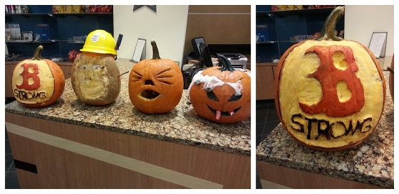 These Jack-o-Lanterns greeted us in our hotel lobby.