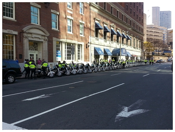 Check out that line of motorcycles!  Great job keeping us all safe! #bostonstrong